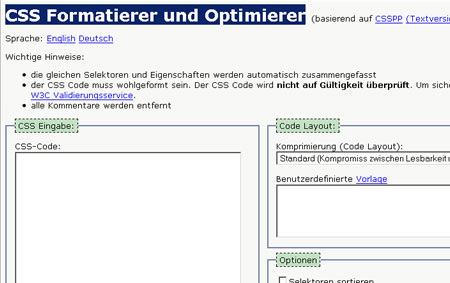 CSS Optimierer